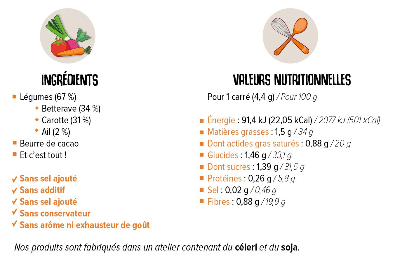 Valeurs nutritionnells et liste d'ingrédients de la tablette Carotte Betterave Ail