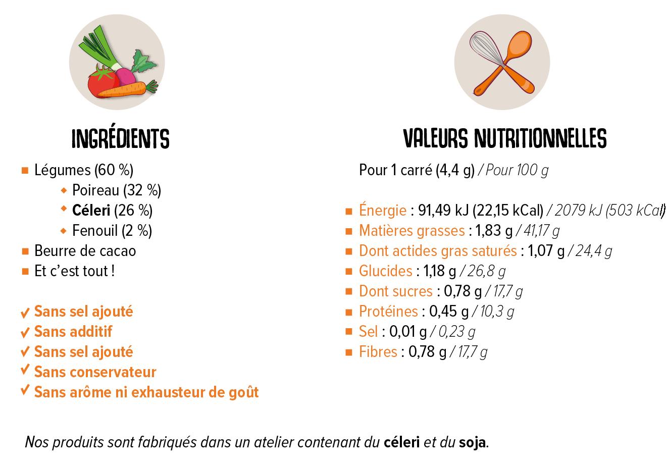 Valeurs nutritionnells et liste d'ingrédients de la tablette Poireau Céleri Fenouil