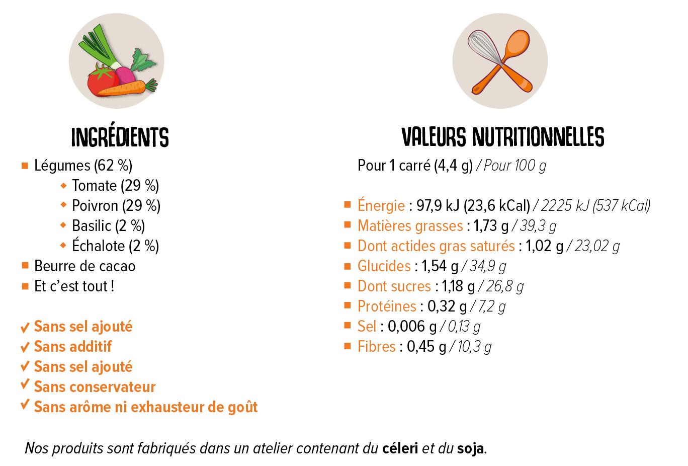 Valeurs nutritionnells et liste d'ingrédients de la tablette Bio Tomate Poivron Basilic Échalote