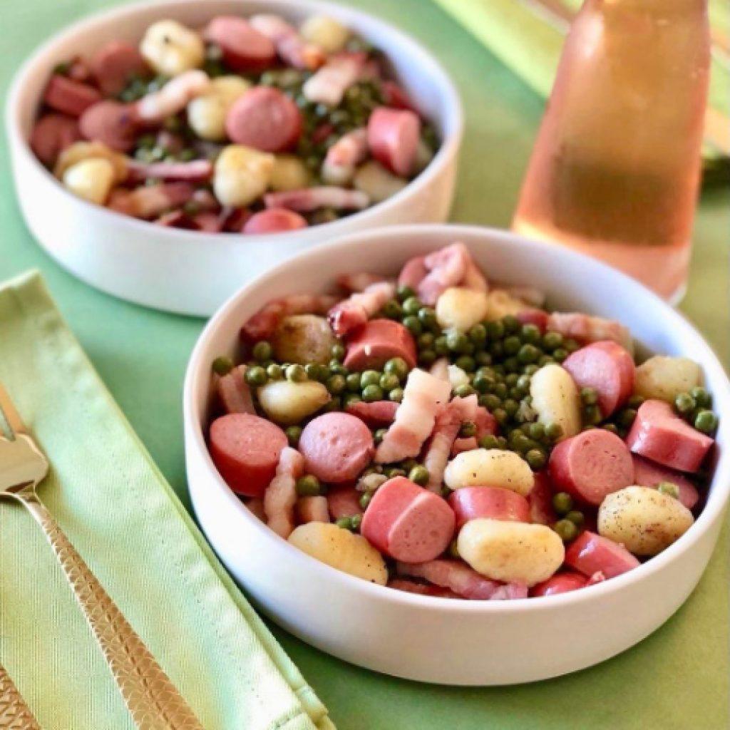 Petits pois gnocchis et lard recette